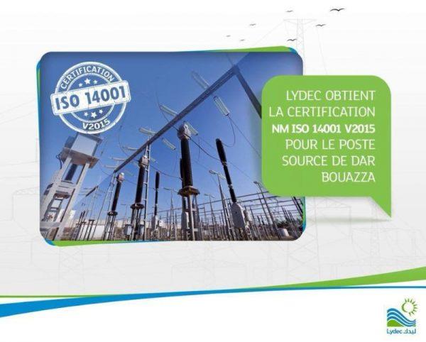 Lydec obtient la certification NM ISO 14001 v2015 pour le poste source de Dar Bouazza